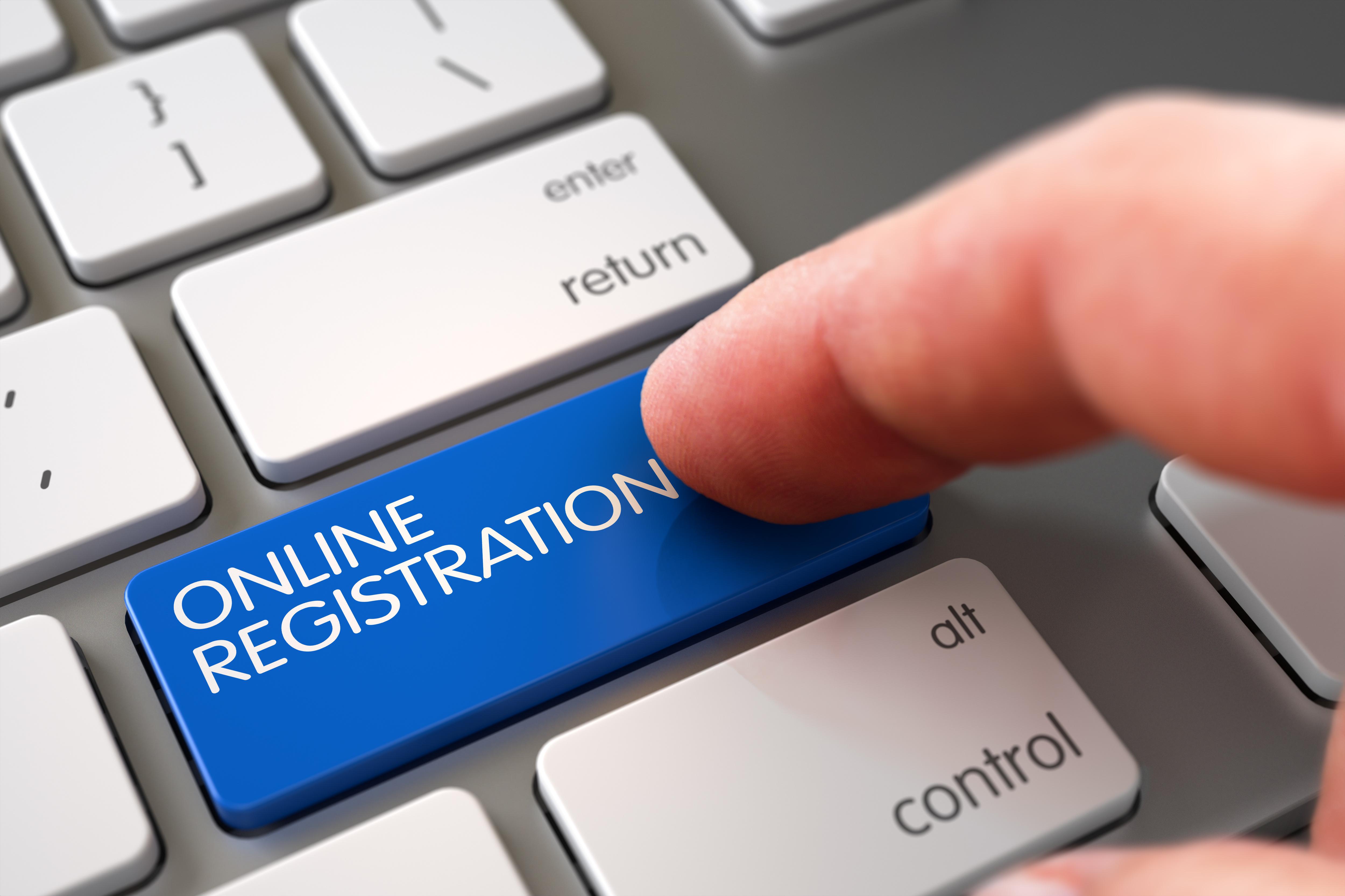 Online Registration - White Keyboard Concept.