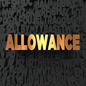 Allowance - Gold text on black background - 3D rendered royalty free stock picture. This image can be used for an online website banner ad or a print postcard.